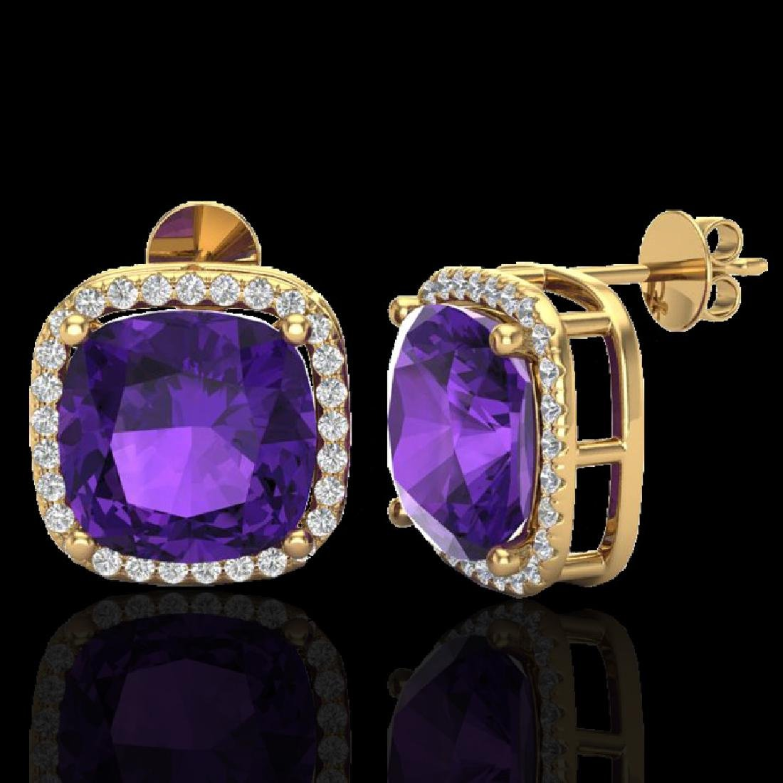 12 CTW Amethyst & Micro Pave Halo VS/SI Diamond - 2