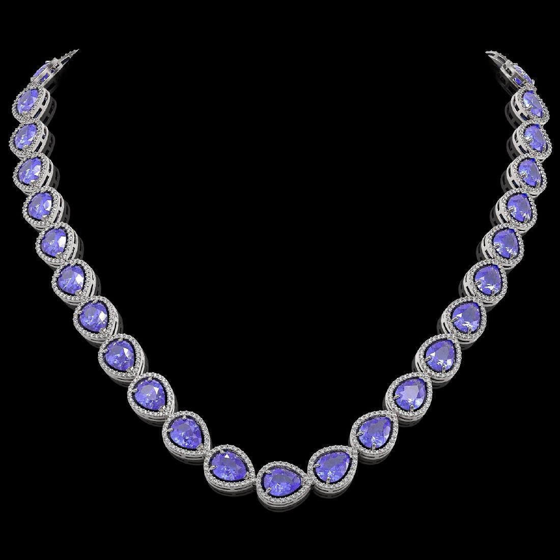 44.8 CTW Tanzanite & Diamond Halo Necklace 10K White