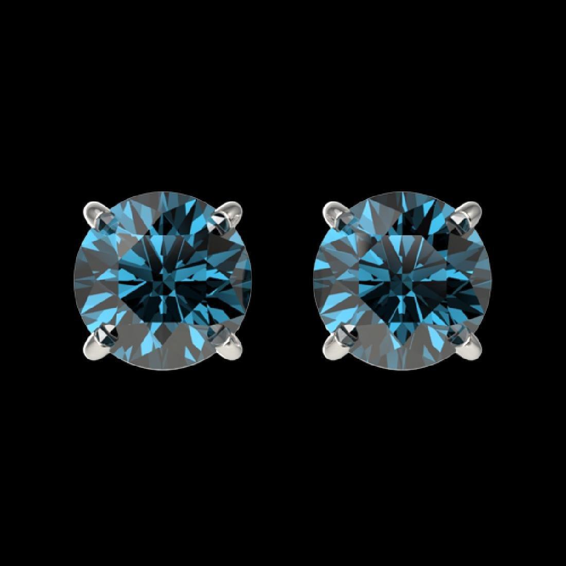 1 CTW Certified Intense Blue SI Diamond Solitaire Stud