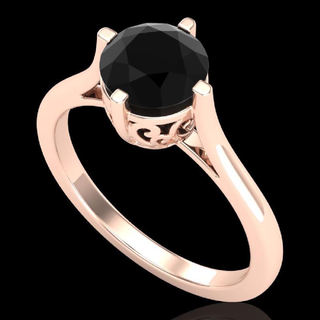 1.25 CTW Fancy Black Diamond Solitaire Engagement Art