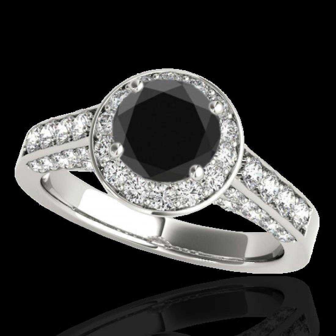 2.56 CTW Certified VS Black Diamond Solitaire Halo Ring