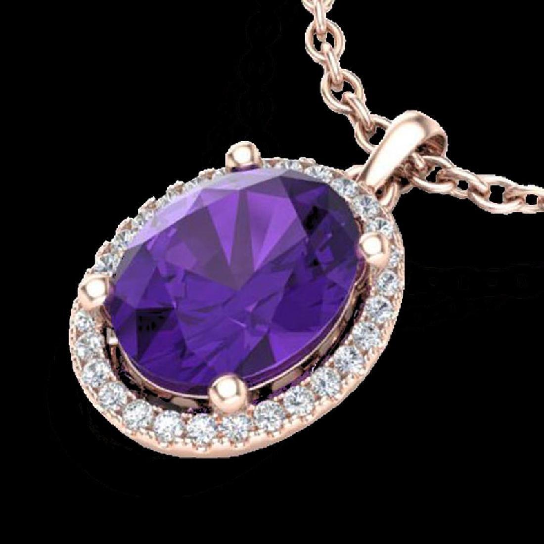2.50 CTW Amethyst & Micro Pave VS/SI Diamond Necklace