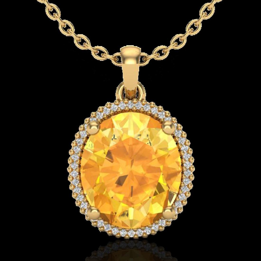 10 CTW Citrine & Micro Pave VS/SI Diamond Halo Necklace