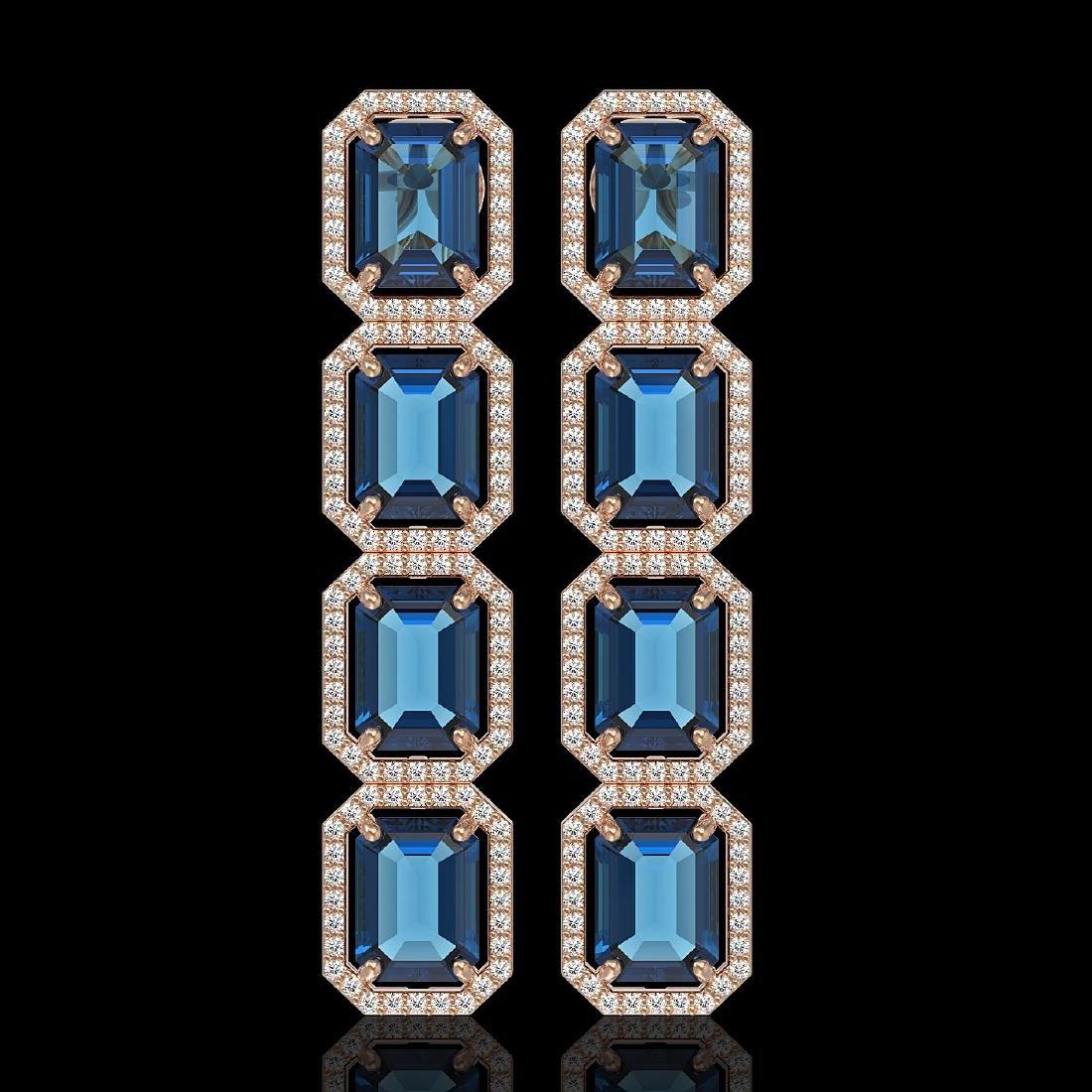 18.99 CTW London Topaz & Diamond Halo Earrings 10K Rose