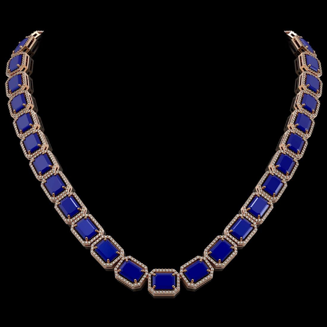 84.94 CTW Sapphire & Diamond Halo Necklace 10K Rose