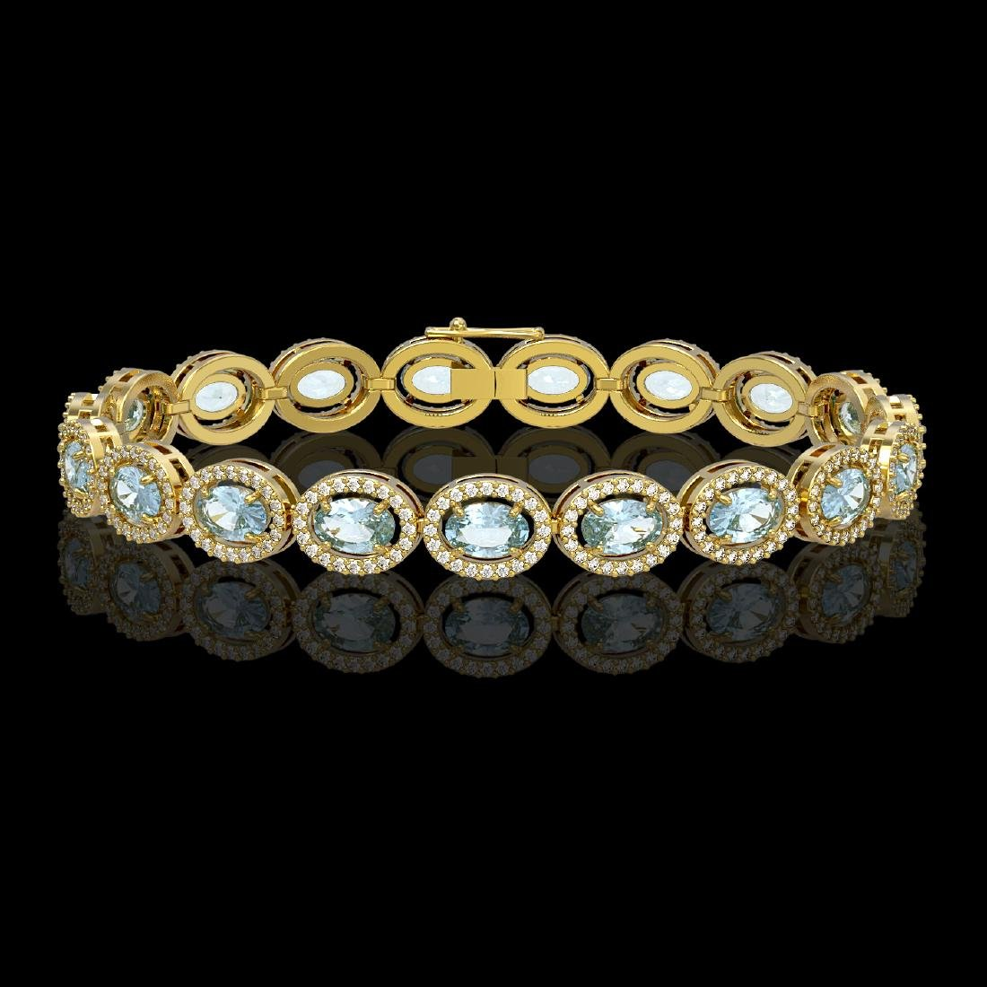 11.02 CTW Aquamarine & Diamond Halo Bracelet 10K Yellow