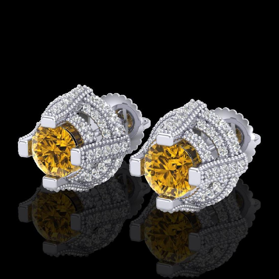2.75 CTW Intense Fancy Yellow Diamond Micro Pave Stud