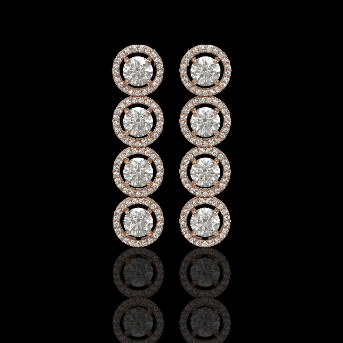 5.36 CTW Diamond Designer Earrings 18K Rose Gold