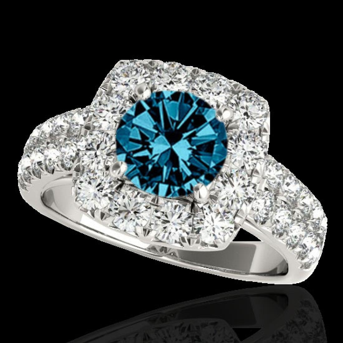 2.5 CTW SI Certified Fancy Blue Diamond Solitaire Halo