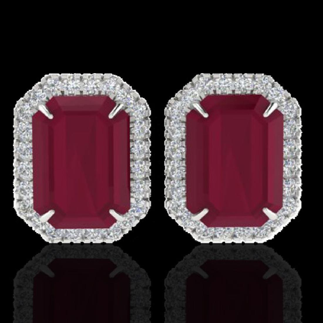 10.40 CTW Ruby And Micro Pave VS/SI Diamond Halo