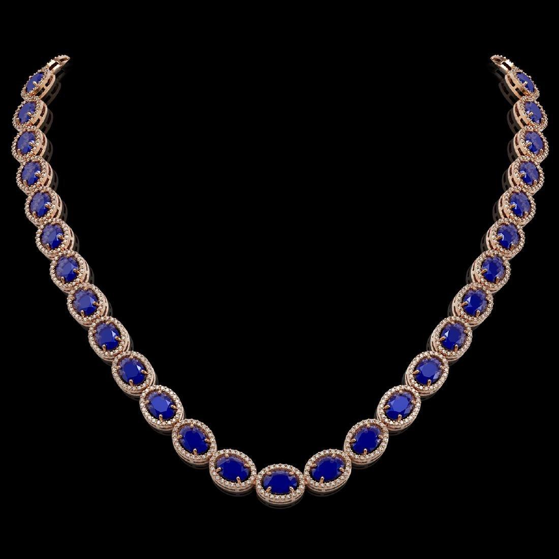 52.15 CTW Sapphire & Diamond Halo Necklace 10K Rose