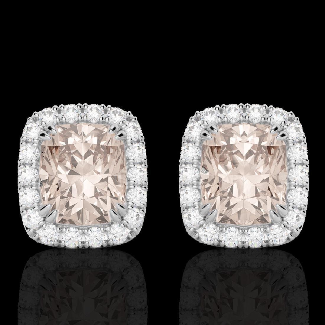2.50 CTW Morganite & Micro Pave VS/SI Diamond Halo