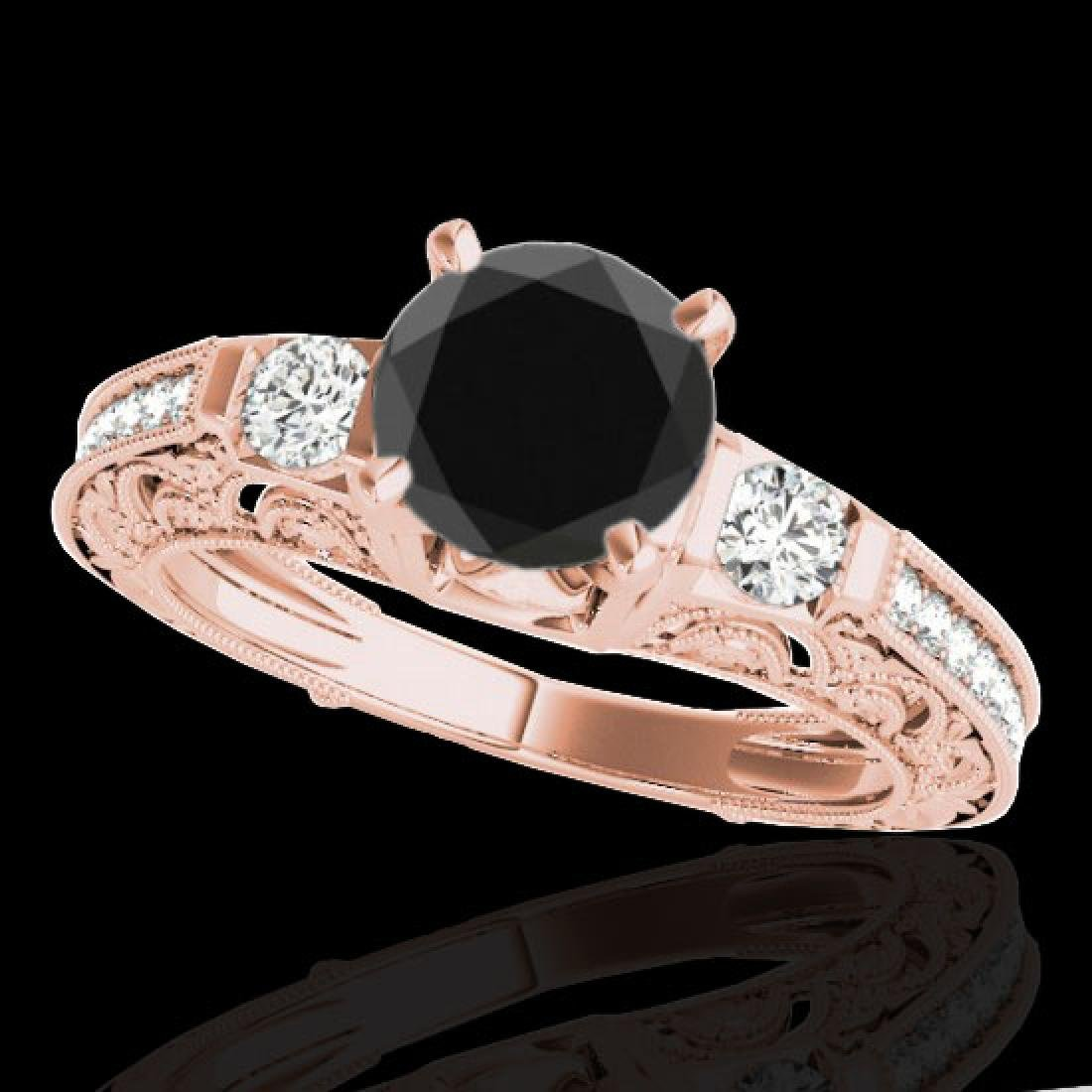 1.38 CTW Certified VS Black Diamond Solitaire Antique