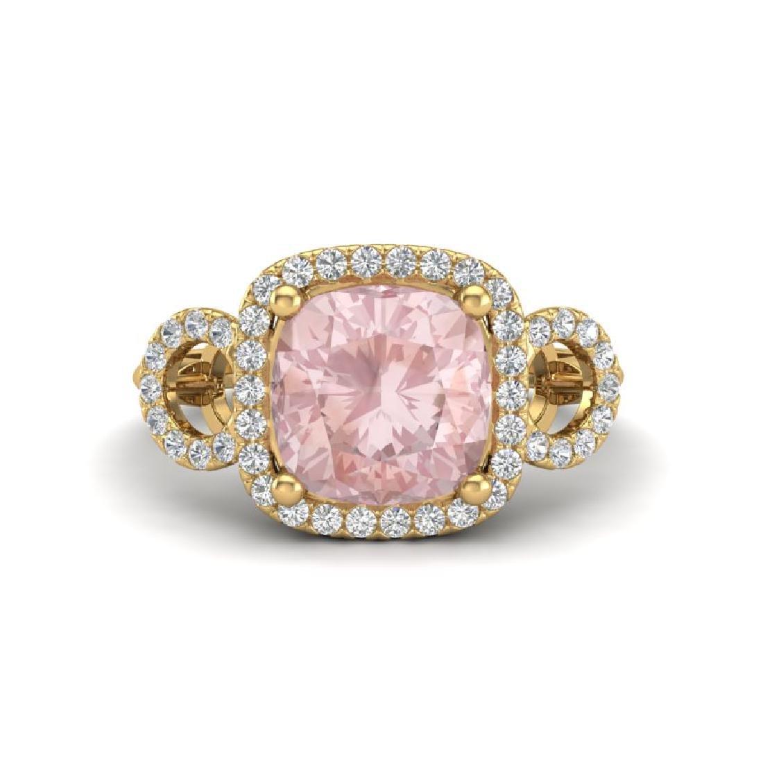 2.75 CTW Morganite & Micro VS/SI Diamond Ring 14K Rose