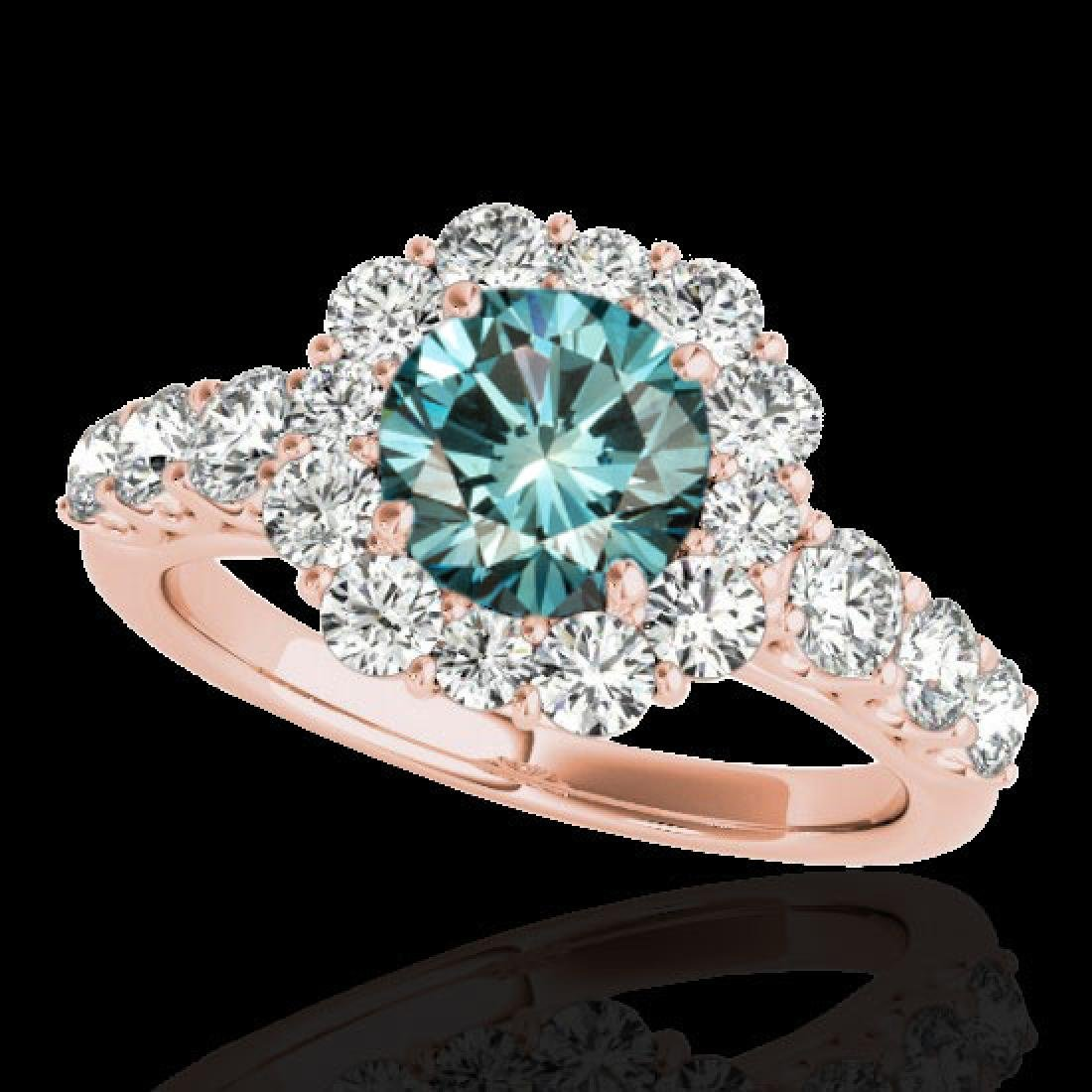 2.9 CTW SI Certified Fancy Blue Diamond Solitaire Halo