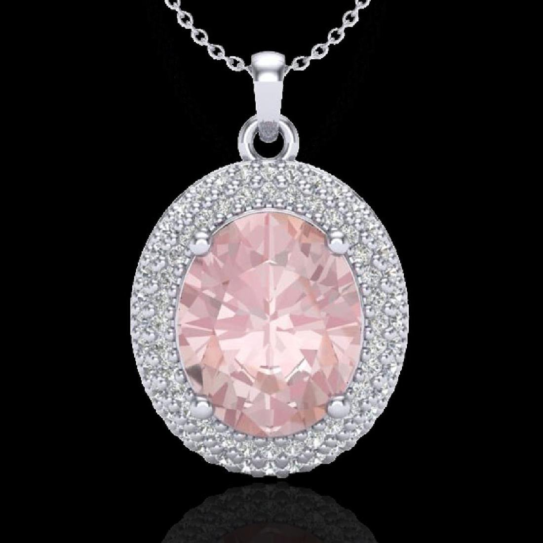 4.50 CTW Morganite & Micro Pave VS/SI Diamond Necklace