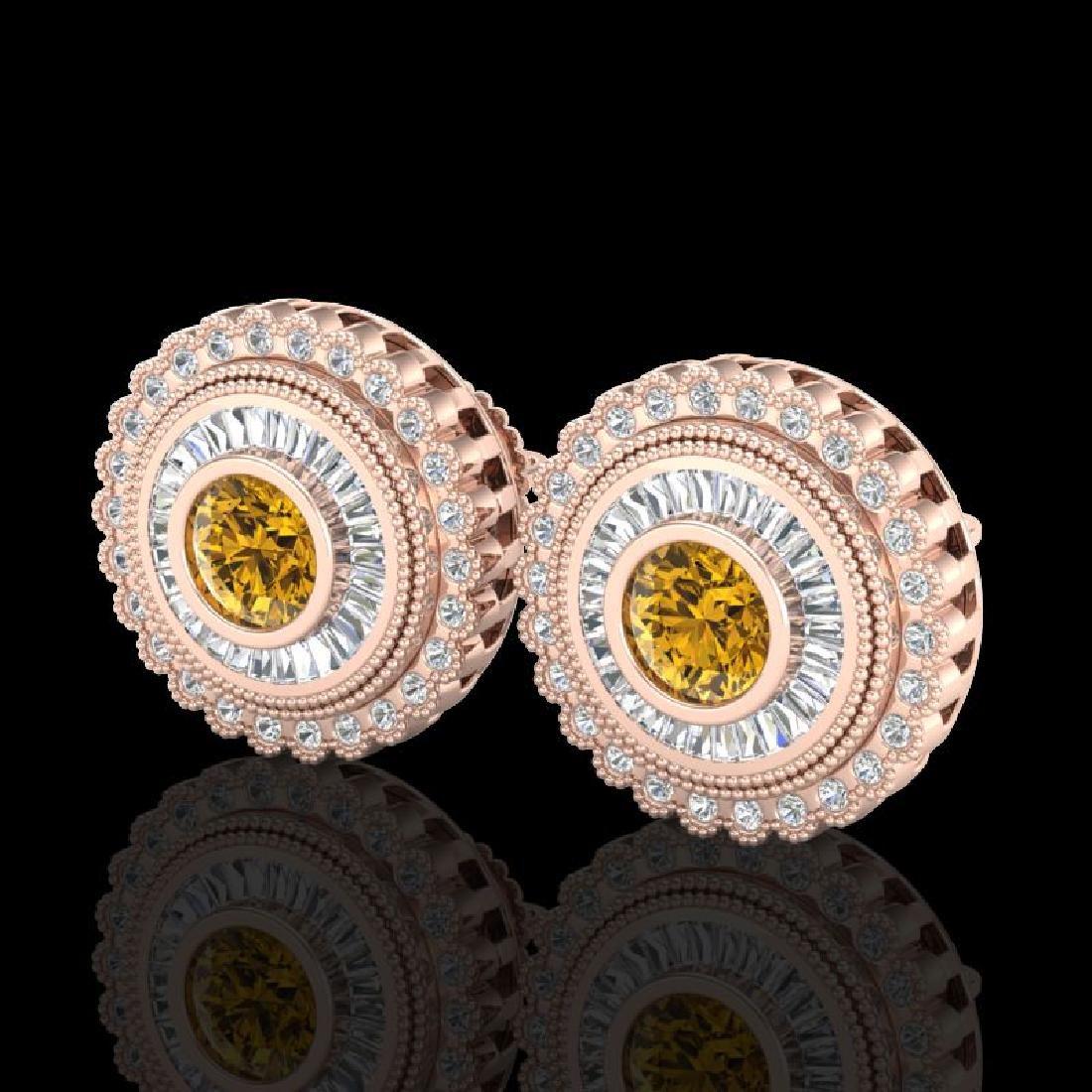 2.61 CTW Intense Fancy Yellow Diamond Art Deco Stud