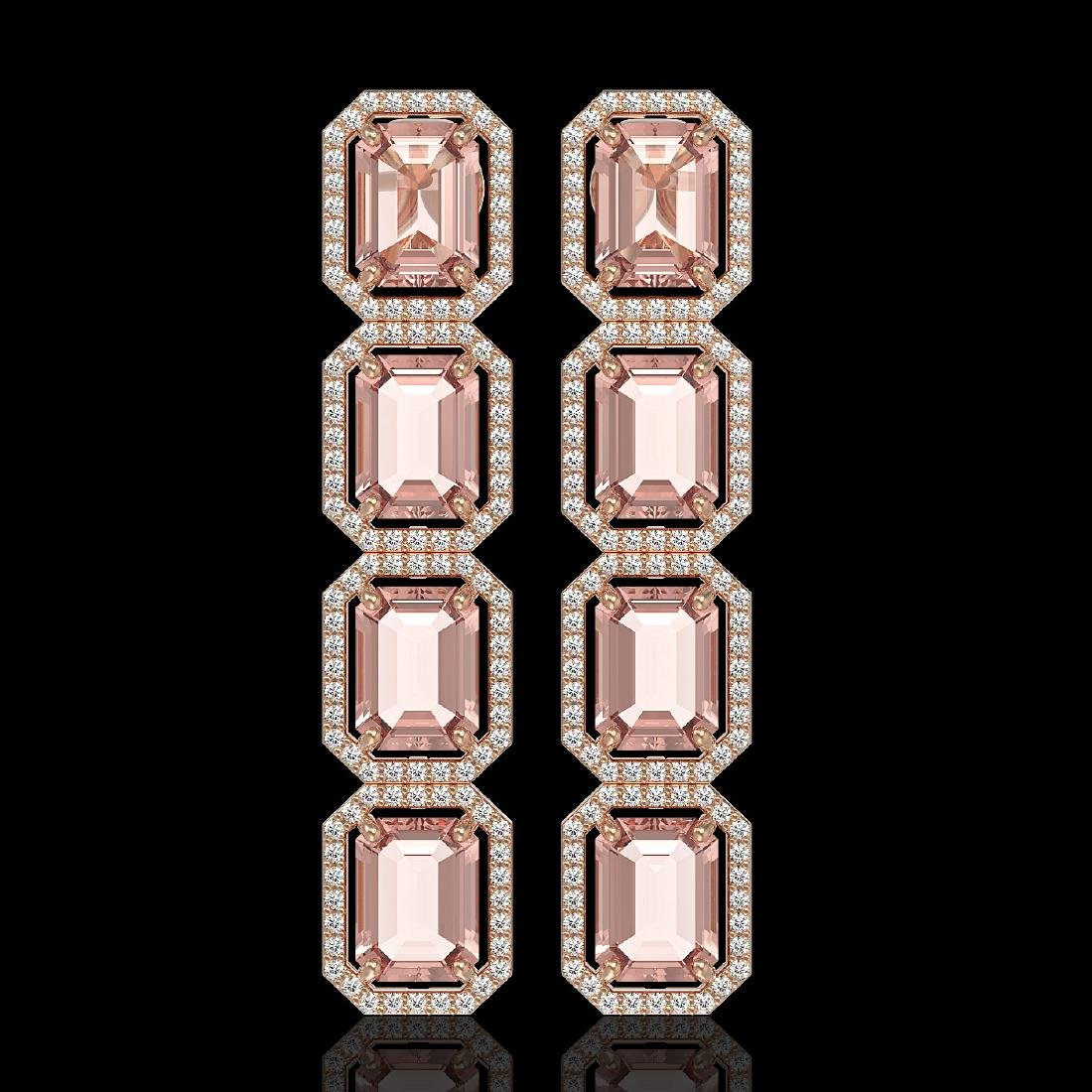 19.81 CTW Morganite & Diamond Halo Earrings 10K Rose