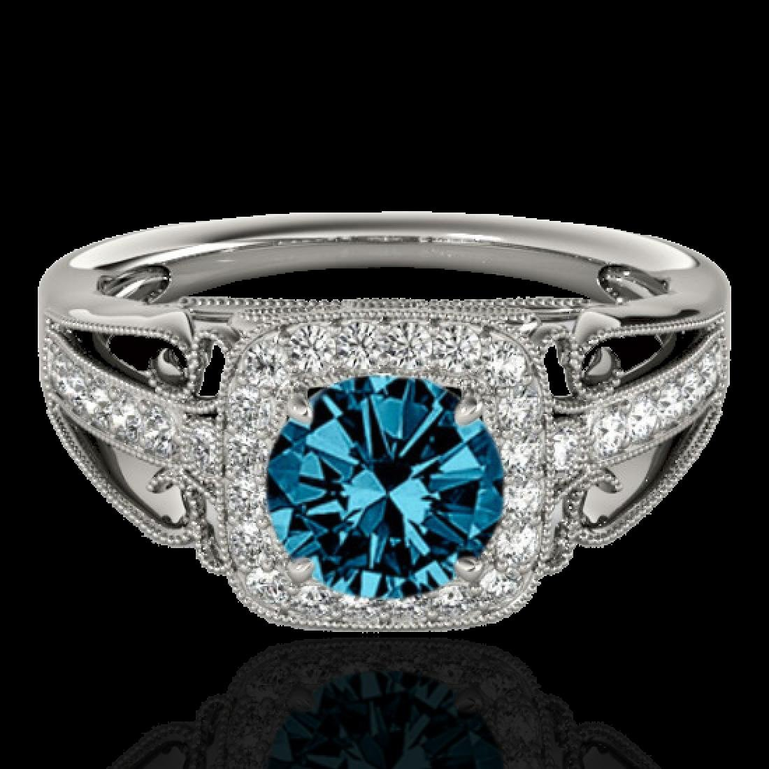 1.3 CTW SI Certified Fancy Blue Diamond Solitaire Halo