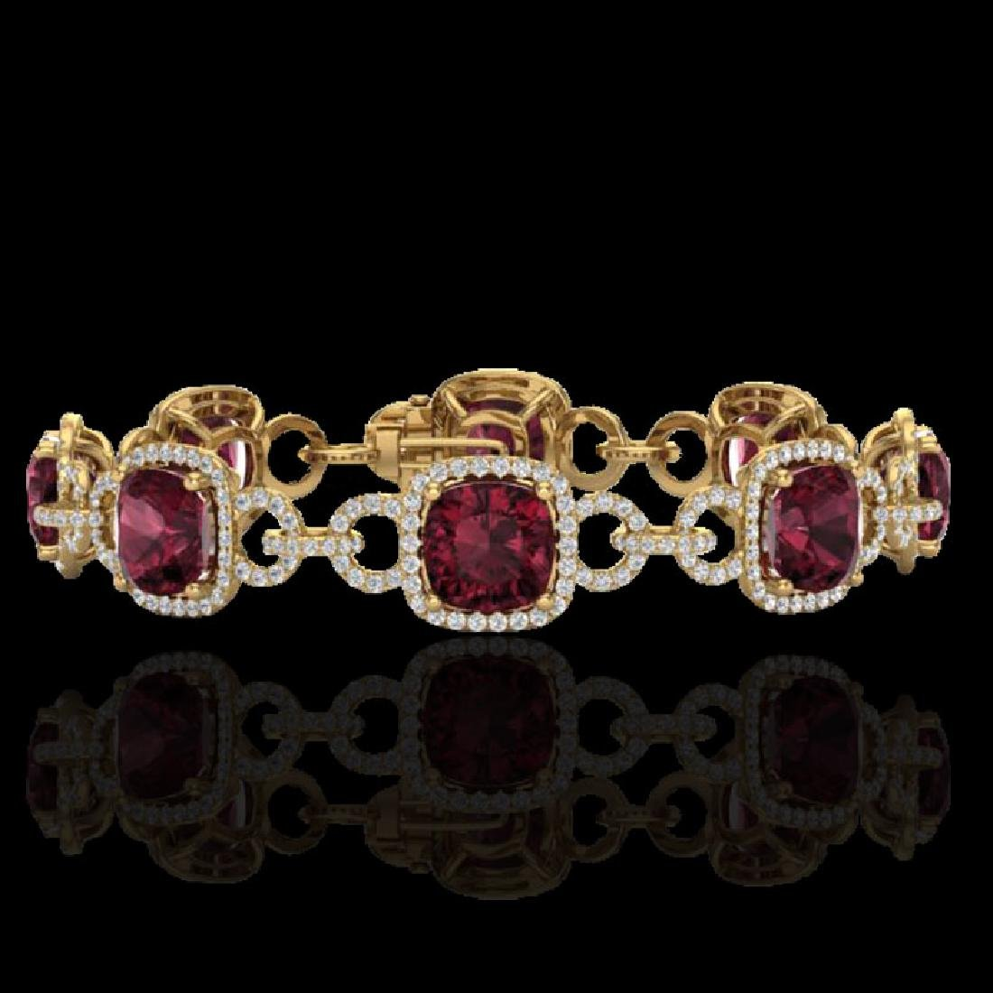30 CTW Garnet & Micro VS/SI Diamond Bracelet 14K Yellow