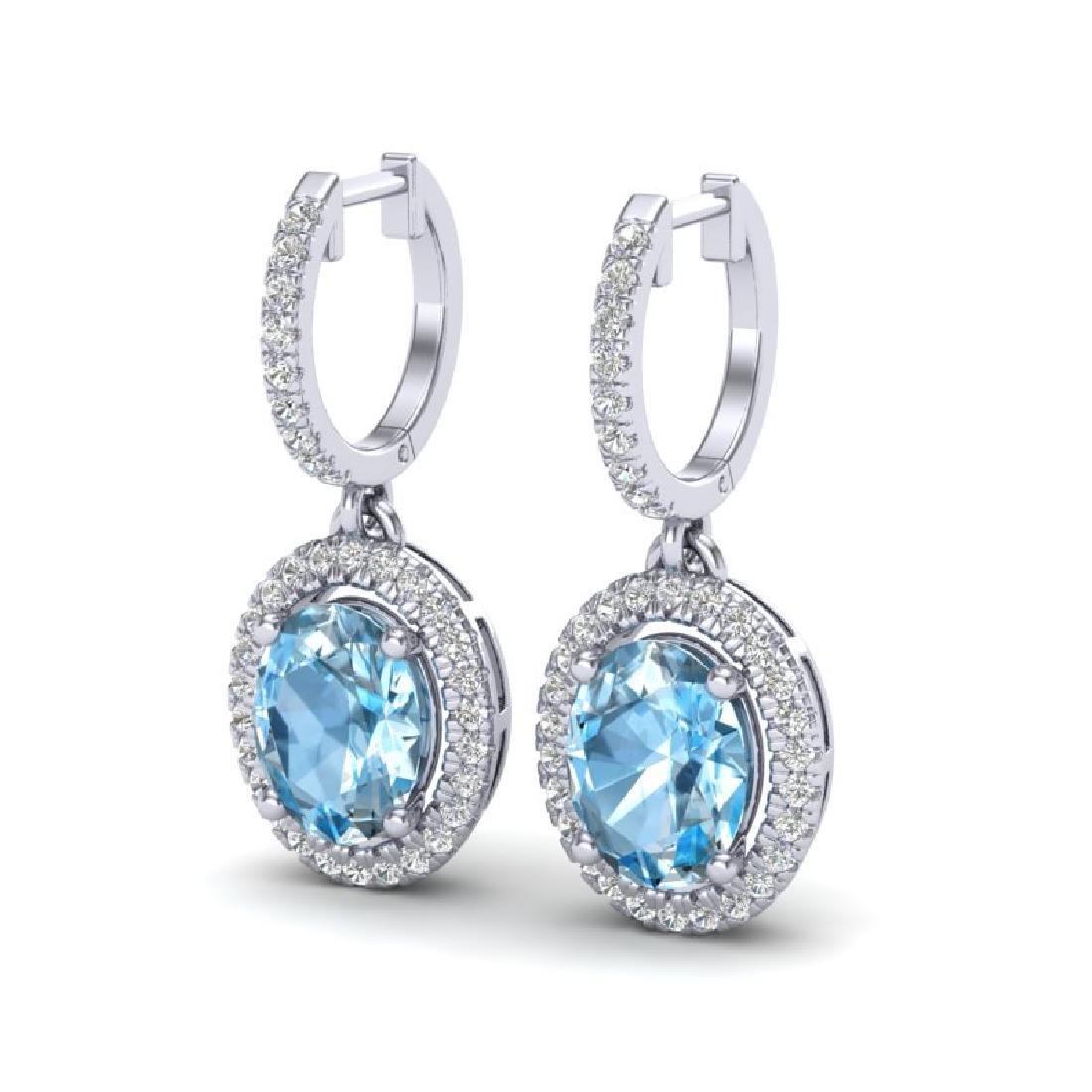 4.25 CTW Sky Blue Topaz & Micro VS/SI Diamond Earrings