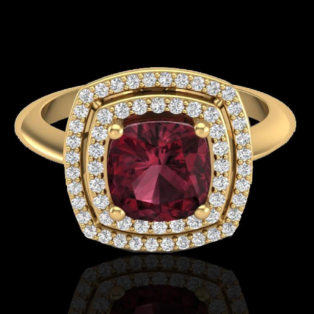2.27 CTW Garnet & Micro VS/SI Diamond Pave Halo Ring