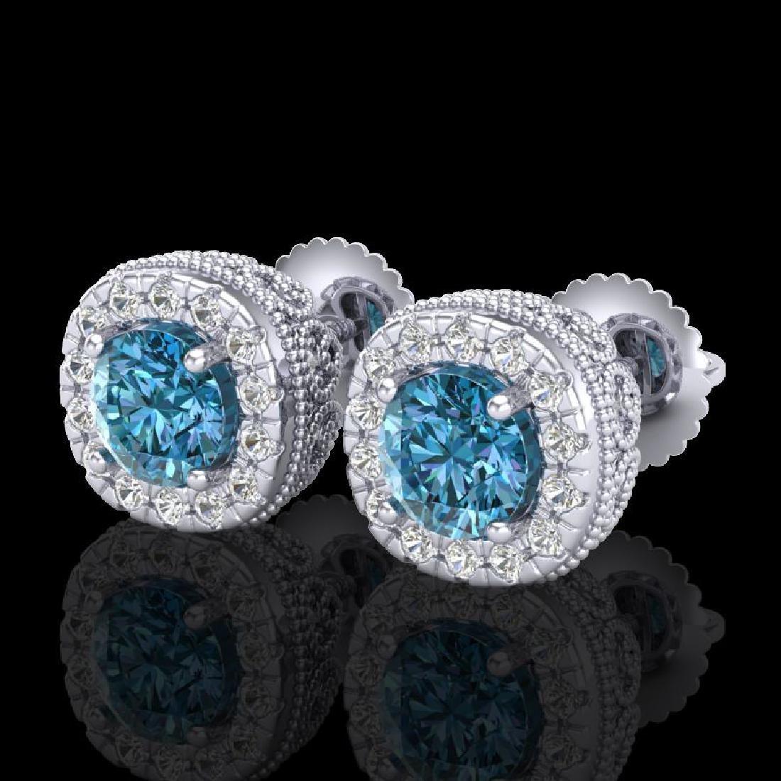 1.69 CTW Fancy Intense Blue Diamond Art Deco Stud