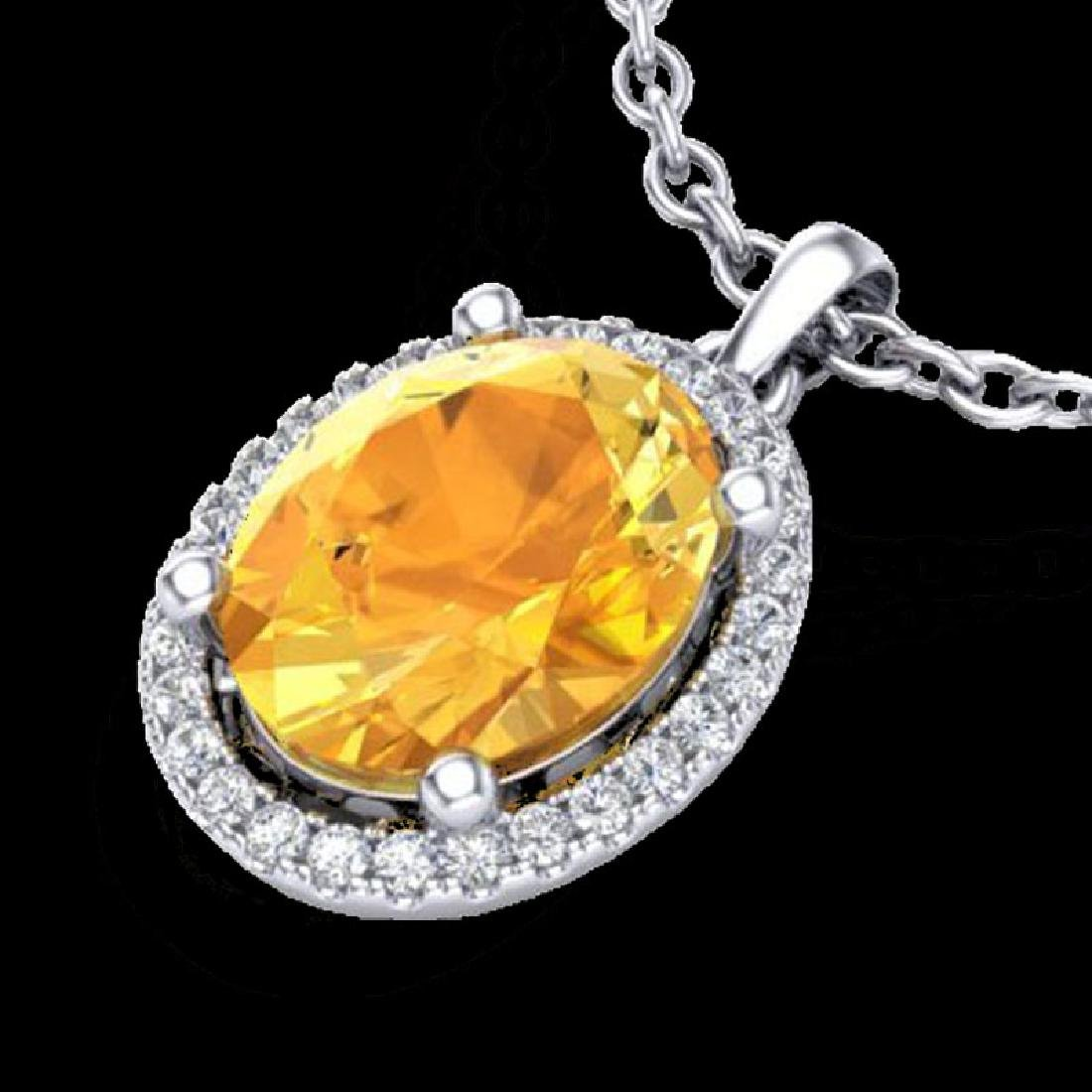 2.50 CTW Citrine & Micro Pave VS/SI Diamond Necklace