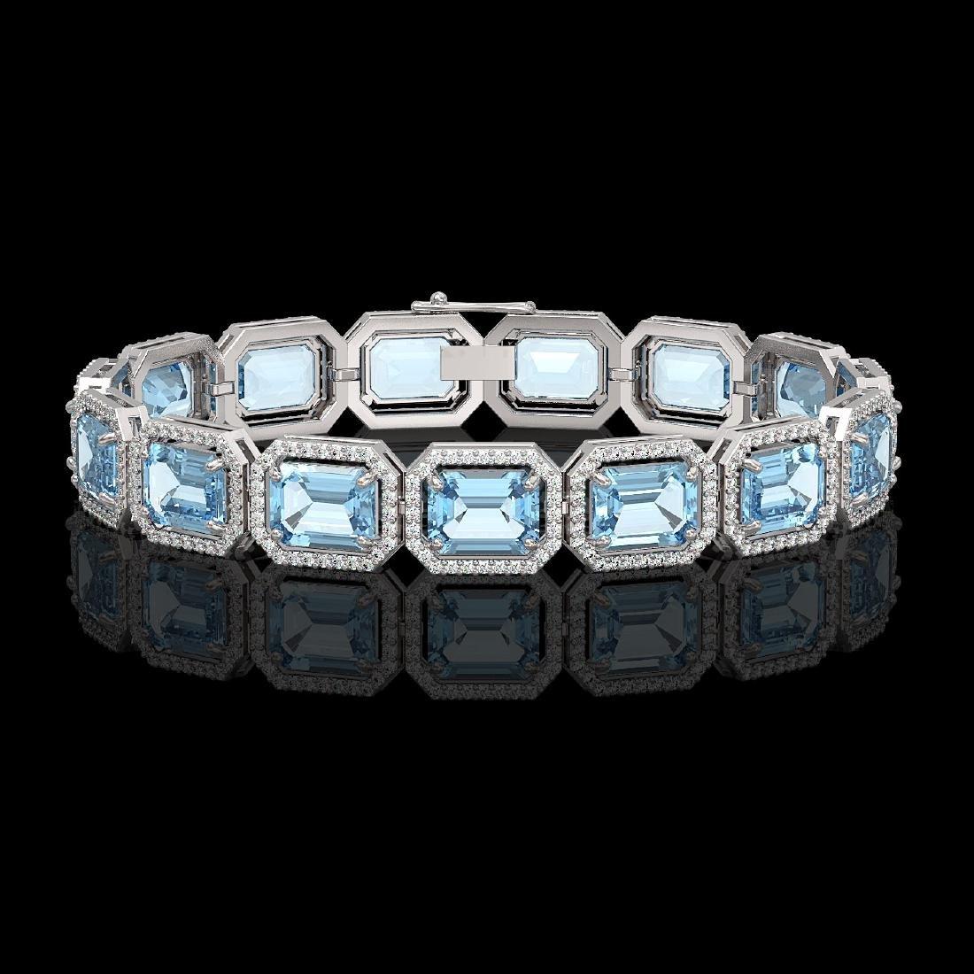 36.81 CTW Aquamarine & Diamond Halo Bracelet 10K White