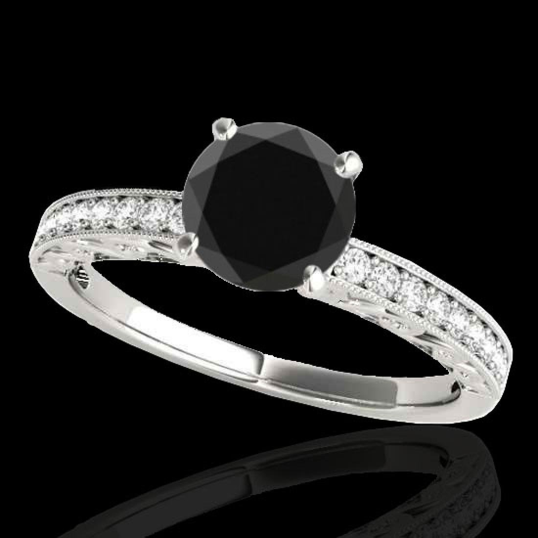 1.18 CTW Certified VS Black Diamond Solitaire Antique