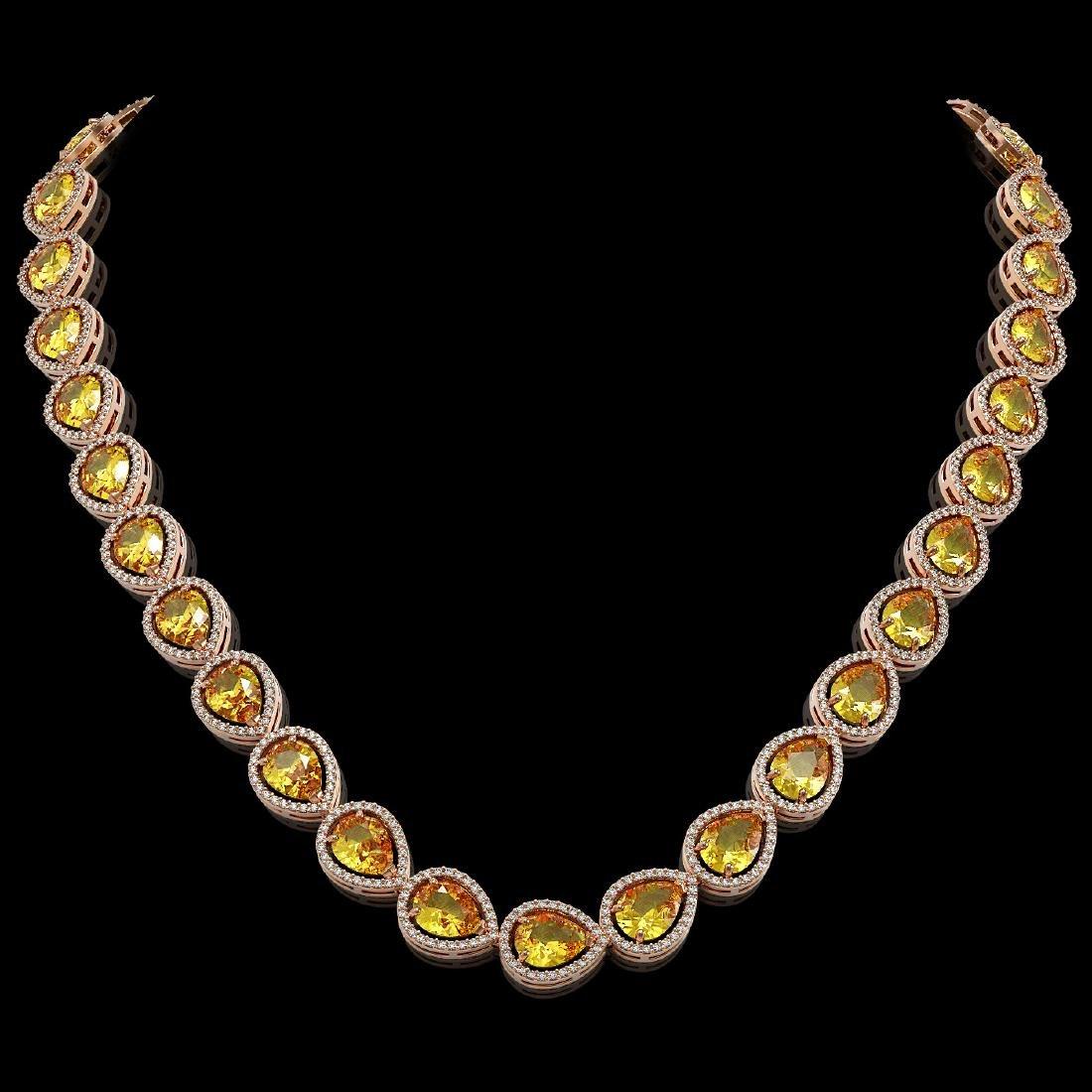 36.8 CTW Fancy Citrine & Diamond Halo Necklace 10K Rose