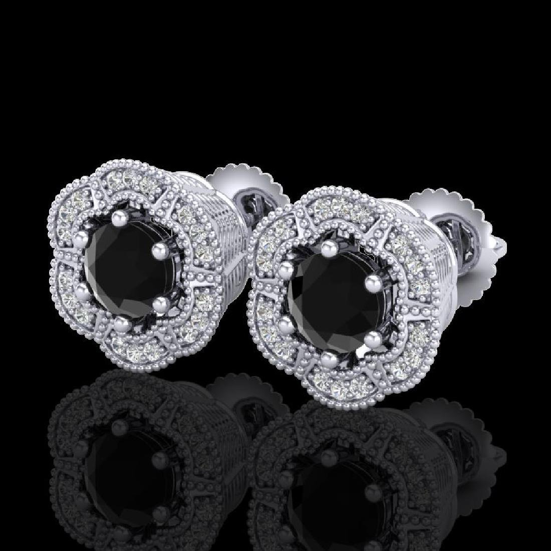1.51 CTW Fancy Black Diamond Solitaire Art Deco Stud