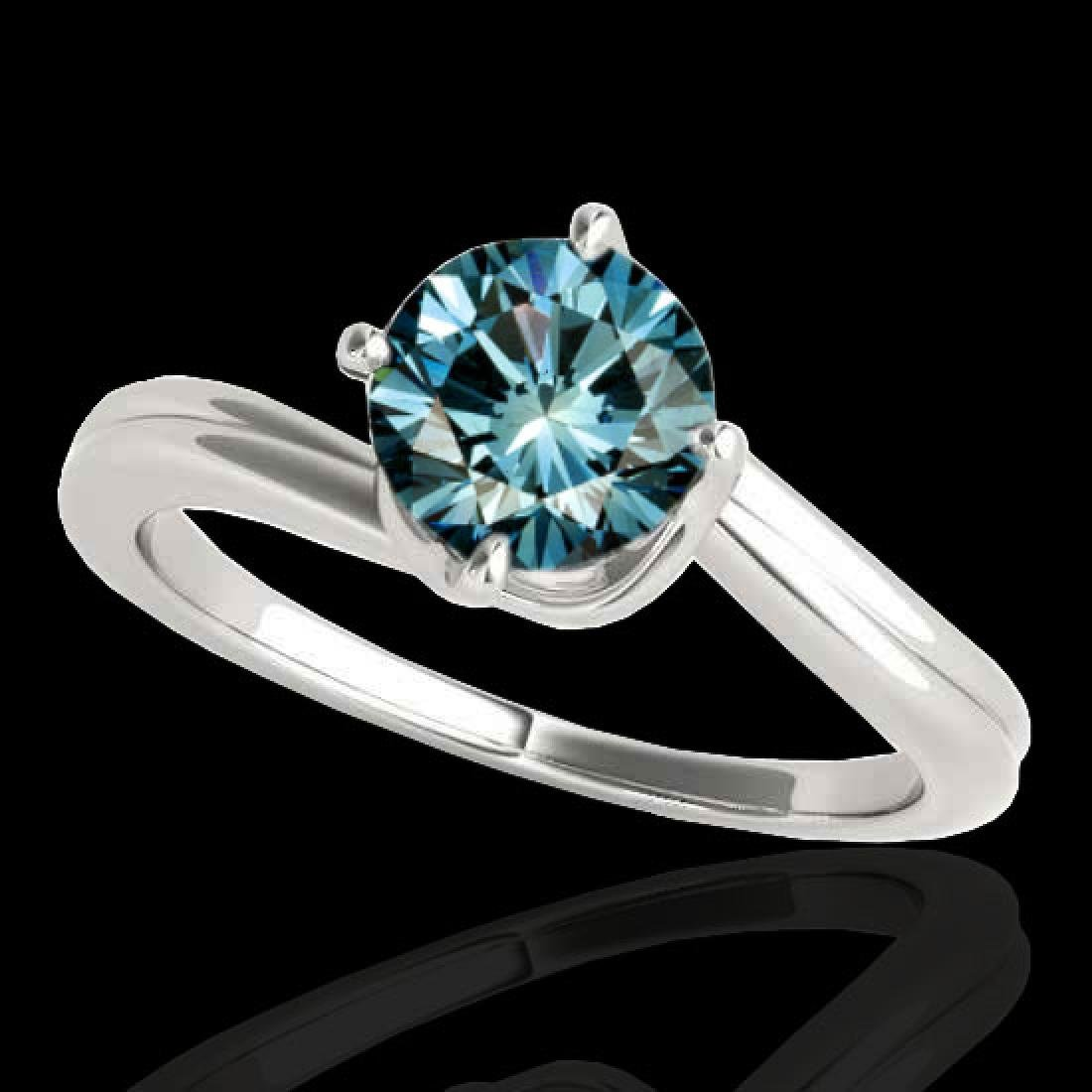 1 CTW SI Certified Fancy Blue Diamond Bypass Solitaire