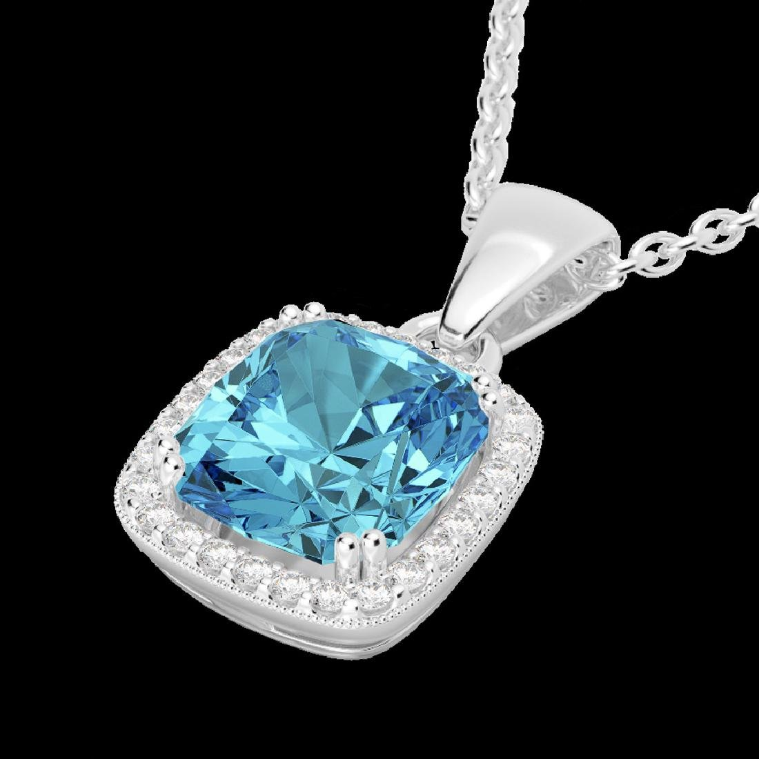 3.50 CTW Sky Blue Topaz & Micro VS/SI Diamond Halo