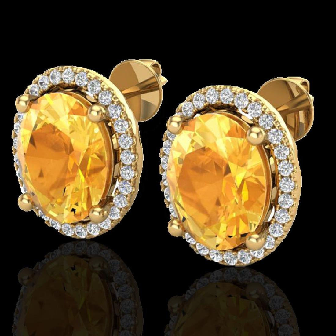 5 CTW Citrine & Micro Pave VS/SI Diamond Earrings Halo