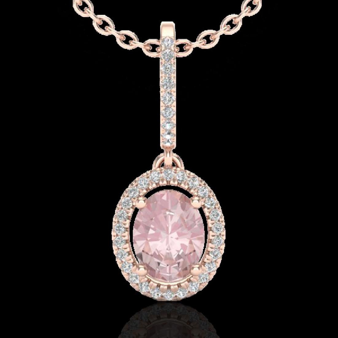 1.60 CTW Morganite & Micro VS/SI Diamond Necklace