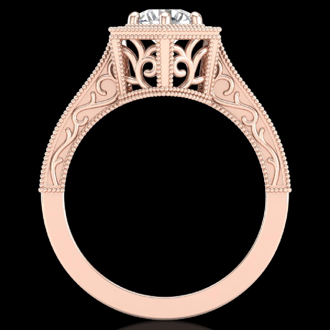 0.77 CTW VS/SI Diamond Solitaire Art Deco Ring 18K Rose
