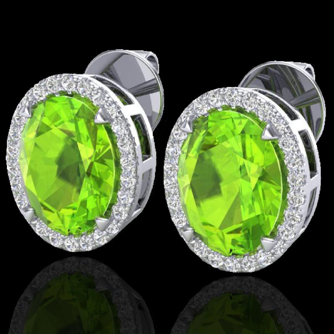 5.50 CTW Peridot & Micro VS/SI Diamond Halo Earrings
