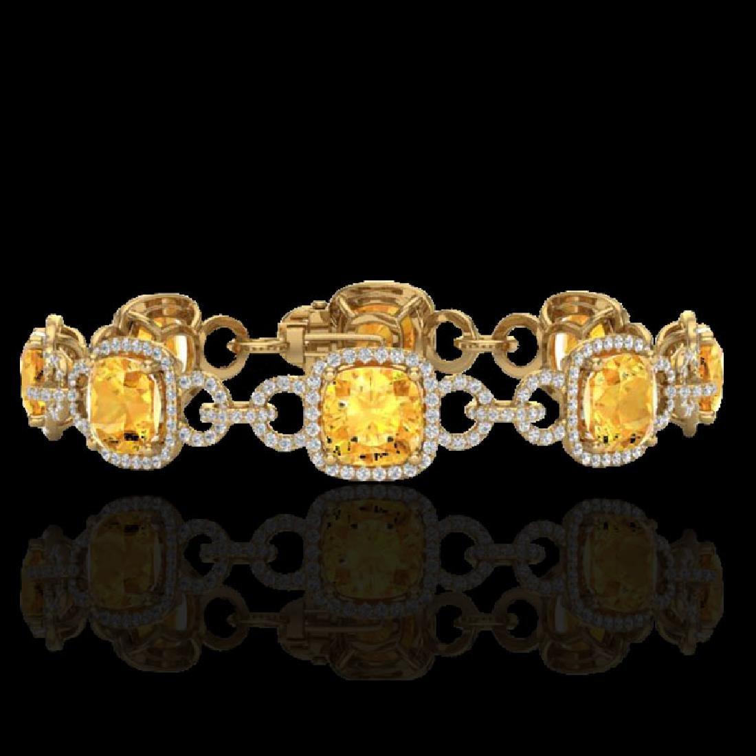 30 CTW Citrine & Micro VS/SI Diamond Bracelet 14K