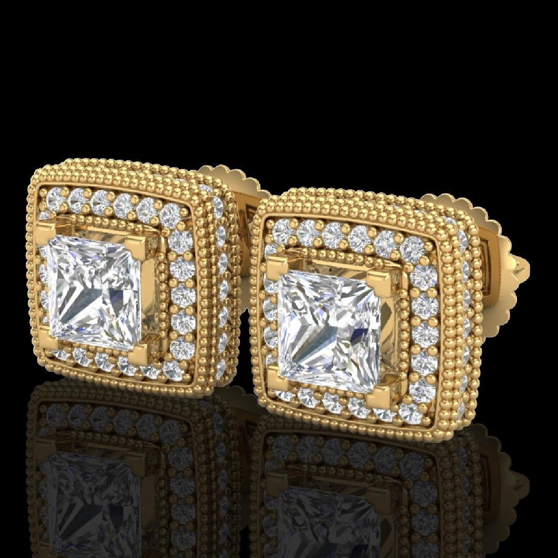 2.01 CTW Princess VS/SI Diamond Art Deco Stud Earrings