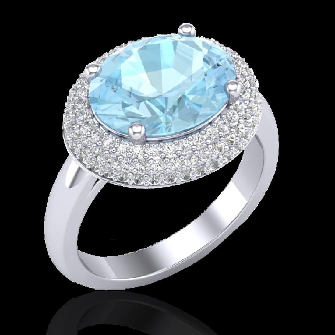 4 CTW Aquamarine & Micro Pave VS/SI Diamond Ring 18K