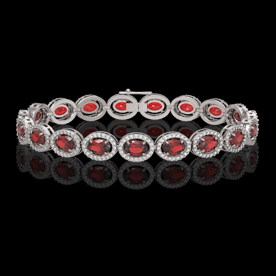 14.63 CTW Garnet & Diamond Halo Bracelet 10K White Gold