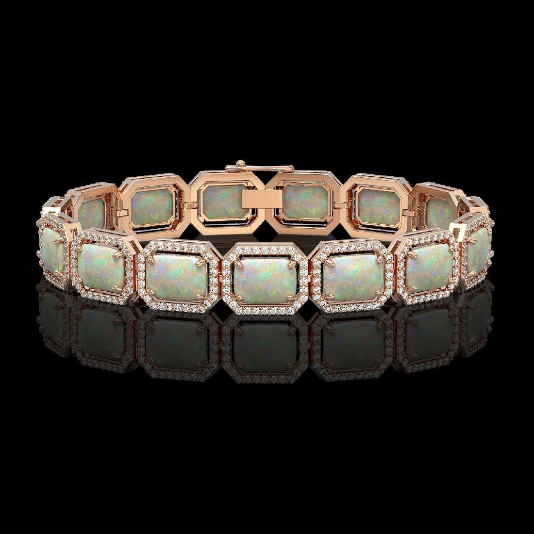 24.37 CTW Opal & Diamond Halo Bracelet 10K Rose Gold