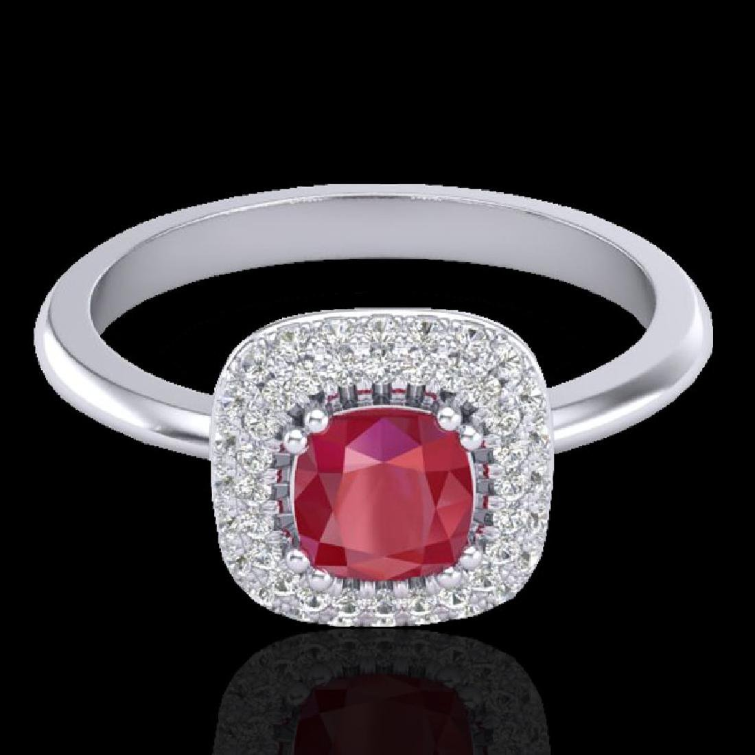 1.16 CTW Ruby & Micro Pave VS/SI Diamond Ring Double