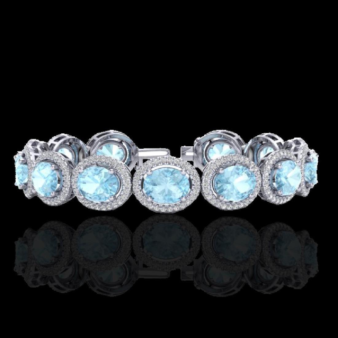23 CTW Aquamarine & Micro Pave VS/SI Diamond Bracelet