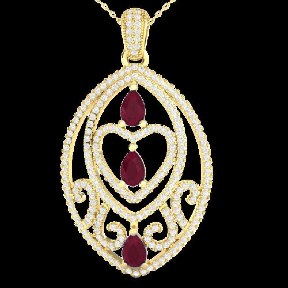 3.50 CTW Ruby & Micro Pave VS/SI Diamond Heart Necklace