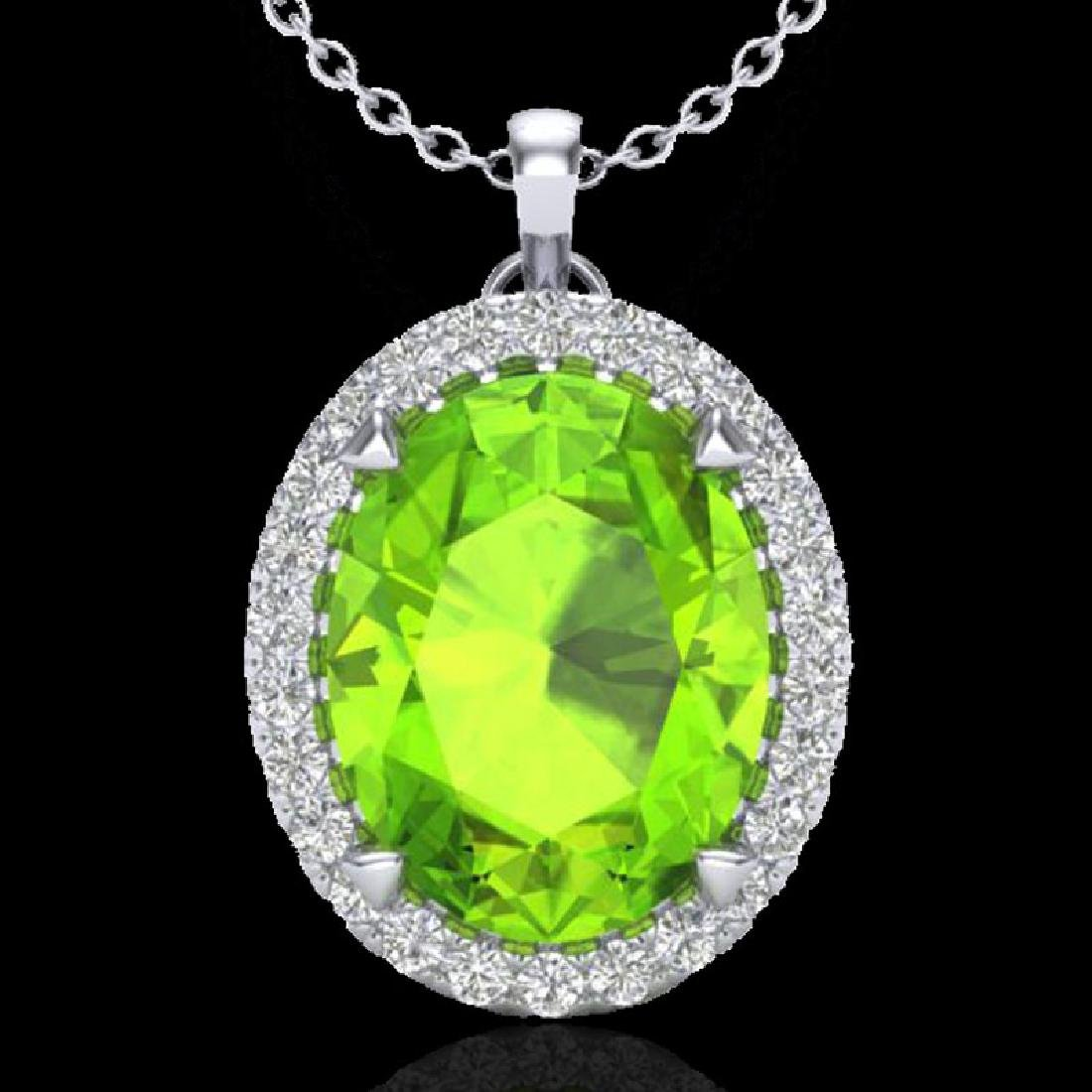 2.75 CTW Peridot & Micro VS/SI Diamond Halo Solitaire