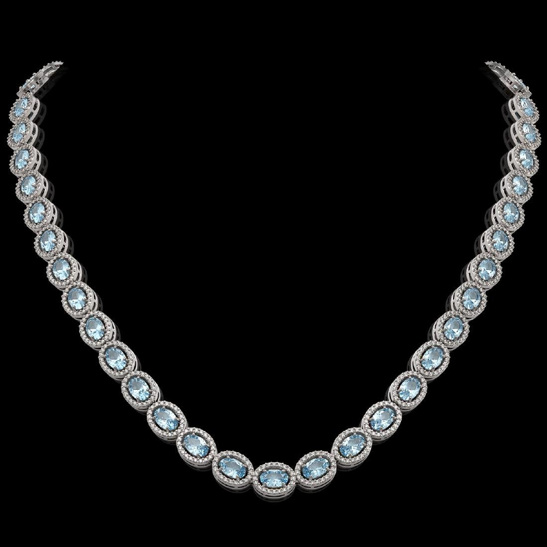 24.65 CTW Aquamarine & Diamond Halo Necklace 10K White