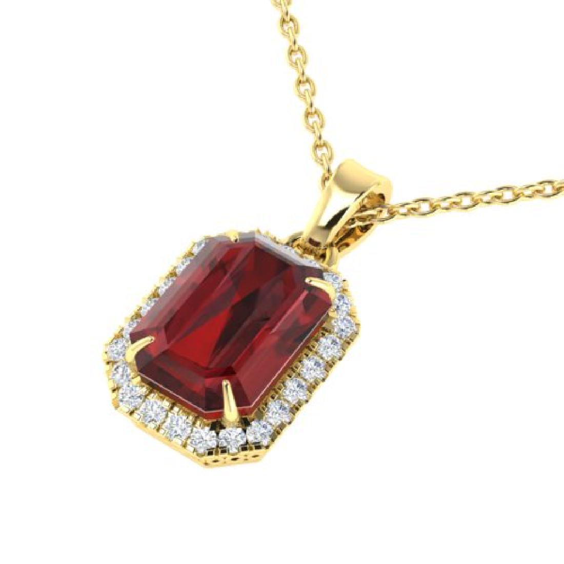 6 CTW Garnet And Micro Pave VS/SI Diamond Halo Necklace