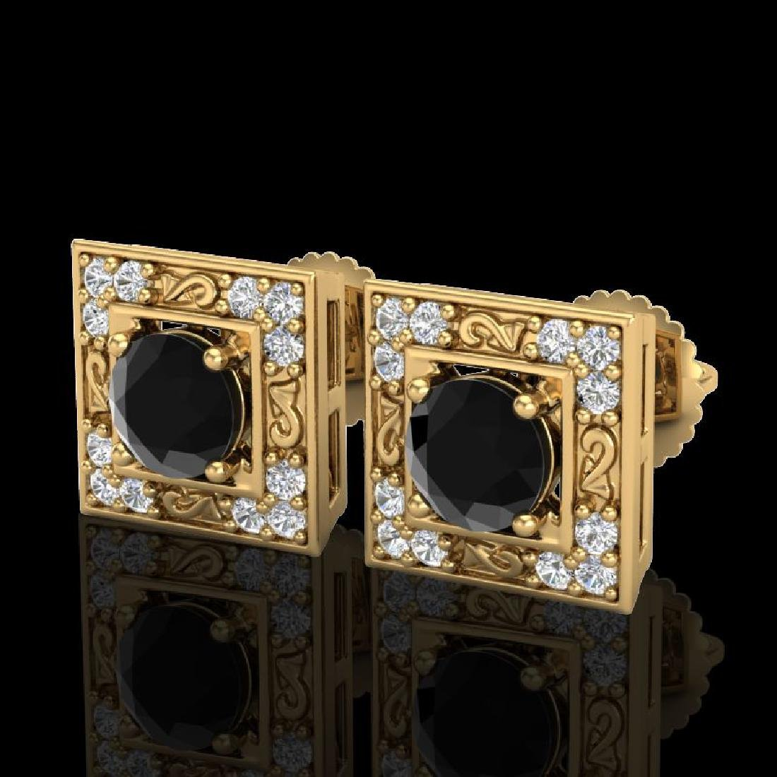 1.63 CTW Fancy Black Diamond Solitaire Art Deco Stud